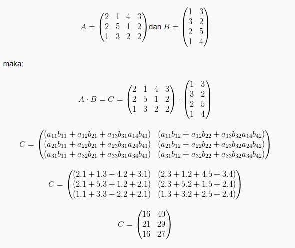 Matriks Operasi Matriks Rumus Contoh Soal Matriks Dan Jawabannya Lengkap Pelajaran Sekolah Online