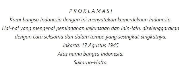 Teks Proklamasi Kemerdekaan Republik Indonesia Klad Otentik Eyd Pelajaran Sekolah Online